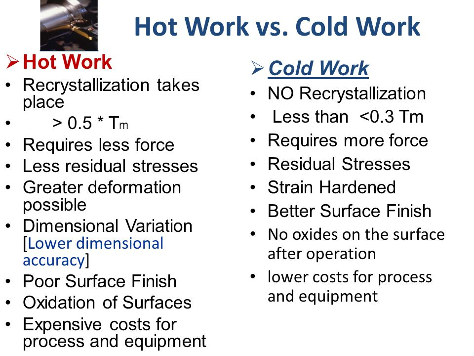 Difference Between Hot And Cold Working